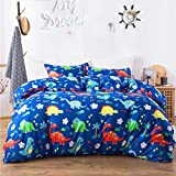 Macohome Kids Duvet Cover Set Queen/Full Boys Bedding with 2 Pillowcases and 1 Duvet Cover(Dinosaur, Queen)