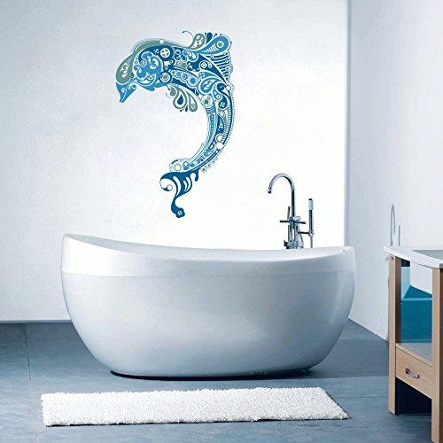 """Dolphin - Beautiful Sea Ocean Inspired Bathroom Wall Decal - 22"""" x 14"""""""