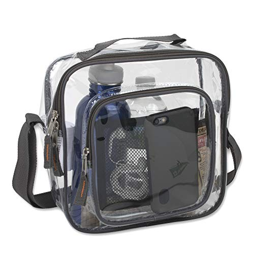 Clear Bag Stadium Approved - Transparent Clear Tote Bag for Security, Work, Travel, More (Gray)