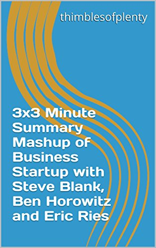 3x3 Minute Summary Mashup of Business Startup with Steve Blank, Ben Horowitz and Eric Ries (thimblesofplenty 3 Minute Business Book Summary Series 1) (English Edition)