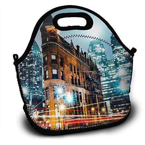 Dejup Lunch Bag Toronto Scenery Tote Reusable Insulated Lunchbox, Shoulder Strap with Zipper for Kids, Boys, Girls, Women and Men ()