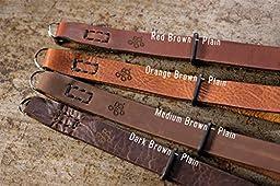 J.B. Camera Designs Premium Leather SIMPLE STRAP Camera Wrist Strap - Made in the USA (Red Brown PLAIN)