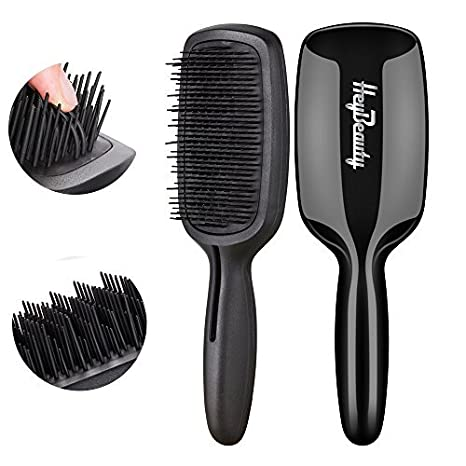 Hair Brush-Magic Detangling Brush, Professional Detangler Bristles-No Tangle Comb for Natural, Mixed, Wigs, Extensions, Curly, Thick, Long, Wavy Hair, Jade Black by HeyBeauty