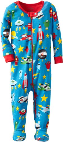 Hatley Baby Boys Newborn Footed Coverall Space Ships, Blue, 0-3 Months
