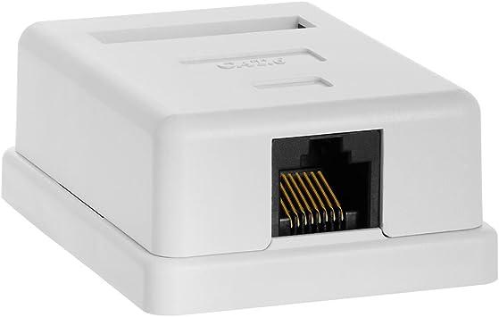 Cmple - Caja de Montaje en Superficie de 1 Puerto Cat6 RJ45 Cat6 para Cables Ethernet, Tornillos y Cinta de Doble Cara incluida, fácil Montaje, Color Blanco: Amazon.es: Electrónica