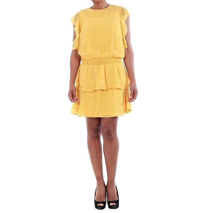 Vero Moda Vestido Mujer XS Amarillo 10193957 VMARUBA S/S Short Dress SB8 Yolk Yellow