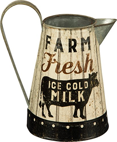 Farm Pitcher (Rustic Distressed Metal Farm Fresh Milk Pitcher or Watering Can, Vase, or Jug by Primatives by Kathy,White Black)