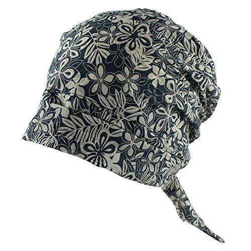 Floral Printed Head Scarf Chemo Head Cap Women Cancer Patients Hat - Dark Blue