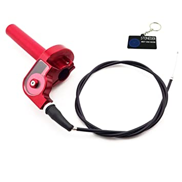 STONEDER Tirador de mango CNC rojo + cable para RM CRF TTR XR KX Dirt Pit Bike Motocross: Amazon.es: Coche y moto