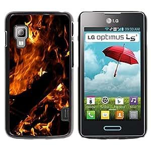 TopCaseStore / la caja del caucho duro de la cubierta de protección de la piel - Fire Dark Black Summer Night Burn - LG Optimus L5 II Dual E455 E460