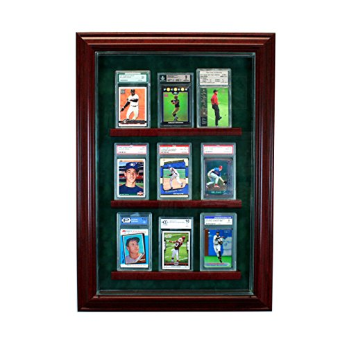 Perfect Cases 9 Graded Trading Card Cabinet Style Display Case with Hinged Door and Suede Backing