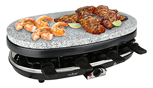 NutriChef Raclette Grill, 8 Person Party Cooktop, Countertop Safe, Stone Plate & Metal Grills, 1000 Watt, 8 Paddles - Great for a Family Get Together or Party (PKGRST46) Countertop Propane Gas Grill