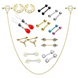 BOPREINA 12/21/27/30Pcs 14G Nipple Rings Body Piercing kit Barbell Crystal CZ Nipple Shield Classical Bar Rings in a Organizer Box