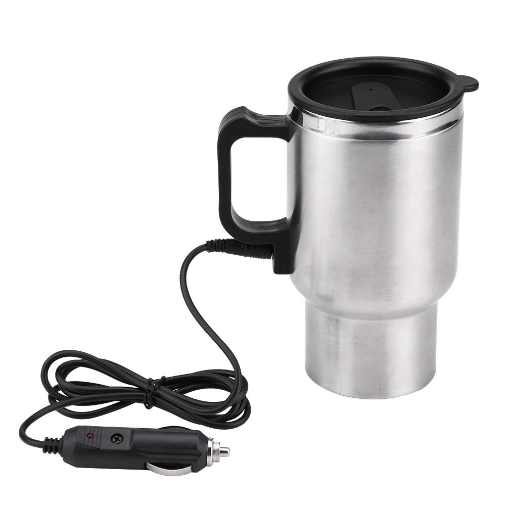 Car Electric Mug, 12V 450ml Electric In-car Stainless Steel Travel Heating Cup Coffee Tea Car Cup Mug Travel Car Kettle for Heating Water, Coffee, Milk and Tea with Airtight Lid, Auto Charger