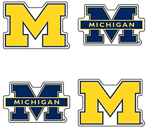 University of Michigan (U of M) Wolverines – Waterless Peel & Stick Temporary Spirit Tattoos – 4-Piece – Maize/Blue M Logo