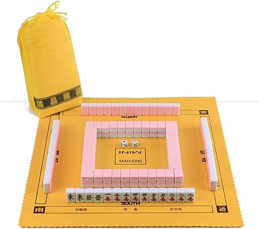 Juegos de Mesa Mahjong Chino Mahjong Portátil Mini Mahjong Travel Mahjong Set Ocio Juego De Cartas De Ajedrez 144 Hojas (Color : Pink, Size : 2.4cm): Amazon.es: Hogar