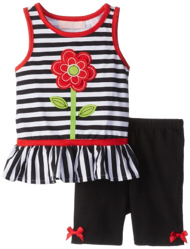 Kids Headquarters Girls 2-6X Stripe Flower Print Short Set