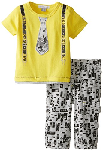 Petit Lem Baby Boys' Newborn Big City 2 Piece Set, Yellow/Grey, 6 Months ()