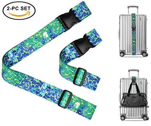 Vincent Van Gogh Irises Travel Luggage Strap Suitcase Security Belt. Heavy Duty & Adjustable. Must Have Travel Accessories. TSA Compliant. 1 Luggage Strap & 1 Add A Bag Strap. 2-Piece Set. by One In A Millionaire (Image #8)