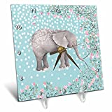 3D Rose Elephant Animal Africa Floral Flowers Dots Illustration Desk Clock, 6'' x 6''