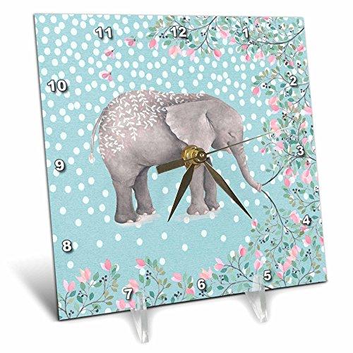 3D Rose Elephant Animal Africa Floral Flowers Dots Illustration Desk Clock, 6'' x 6'' by 3dRose