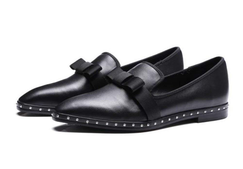 Oudan Am Kopf Einer Nieten Einzelne Schuhe,Schwarz,38 (Farbe   Wie Gezeigt, Größe   Einheitsgröße)
