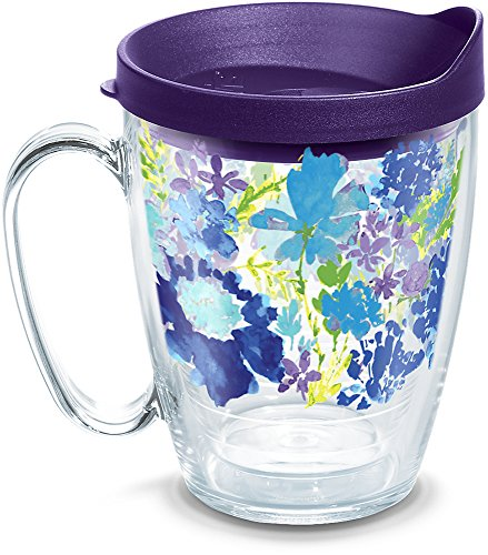 - Tervis 1290905 Fiesta-Purple Floral Tumbler with Wrap and Royal Lid, 16oz Mug, Clear