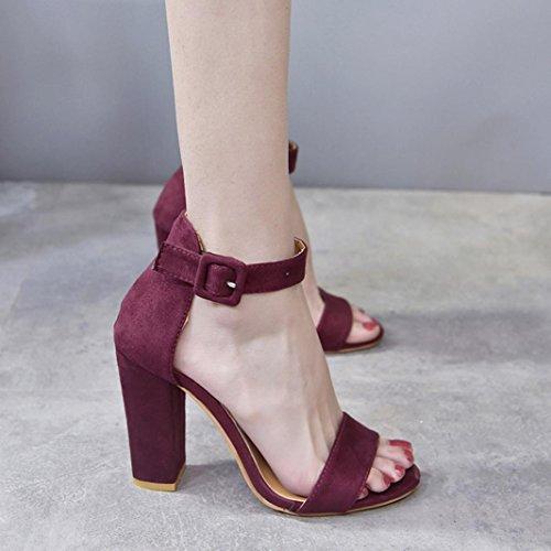 Fheaven Femmes Sandales Boucle Sangle Cheville Talons Hauts Sandales Bloc Robe De Soirée Chaussures Vin