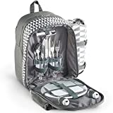 VonShef 2 Person Geo Grey Picnic Backpack With Blanket – Includes 17 Piece Dining Set & Cooler Compartment to Keep Food Chilled