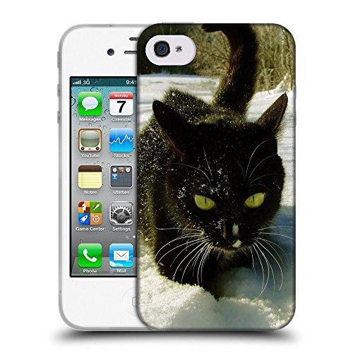 Just Phone Cases Coque de Protection TPU Silicone Case pour // V00004280 Serious chat noir sur la neige // Apple iPhone 4 4S 4G