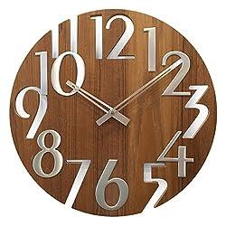a.Cerco Classy 16 Wooden Quiet Quartz Wall Clock - Brown