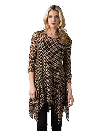 Kaktus Women's 3/4 Sleeve Asymmetrical Diamond Print Plus Size Tunic, Black/Gold, 3X
