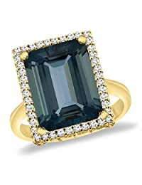14K Yellow Gold Natural London Blue Topaz Ring Diamond Accent 14x10 mm Octagon, sizes 5 -10