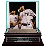 MLB New York Yankees Derek Jeter Moments Farewell Speech Background Glass Single Baseball Case with Yankee Stadium Authentic Dirt and Nameplate