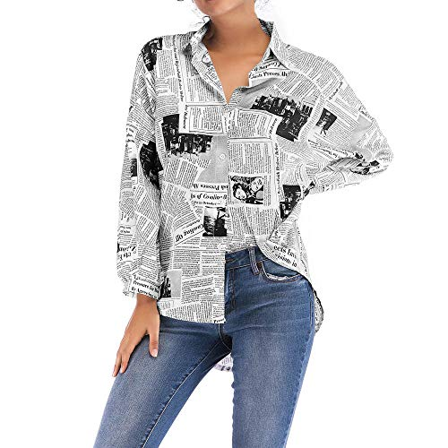 Respctful ♪☆ Women's Fashion Tops Newspaper Printed Shirt Long Sleeve Blouse Asymmetrical Hem Tops Stylish Shirt