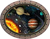 12'' Porthole Instant Outer Space Window View SOLAR SYSTEM #2 OVAL rivets Wall Decal Home Kids Sticker Game Room Art Decor Graphic SMALL