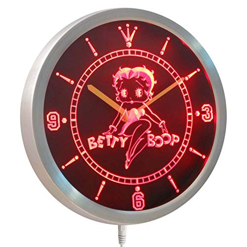 Betty Boop Neon Clock - Time2LightUp Betty Boop 10 Inches Round LED Neon Wall Clock Red