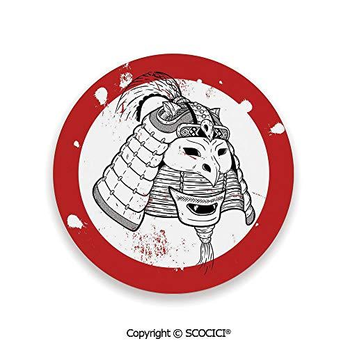 Ceramic coaster With wood Bottom Protection, For Mugs, Wine Glasses, Protects Furniture Round,Kabuki Mask Decoration,Asian Ethnic Mask Design Grunge,3.9