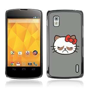 Designer Depo Hard Protection Case for LG Nexus 4 E960 / Grumpy Kitty