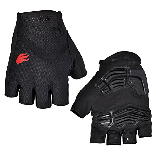 FIRELION Cycling Gloves with Gel Pad Breathable Half Finger Bicycle Riding Gloves Bike Gloves,Black,Medium