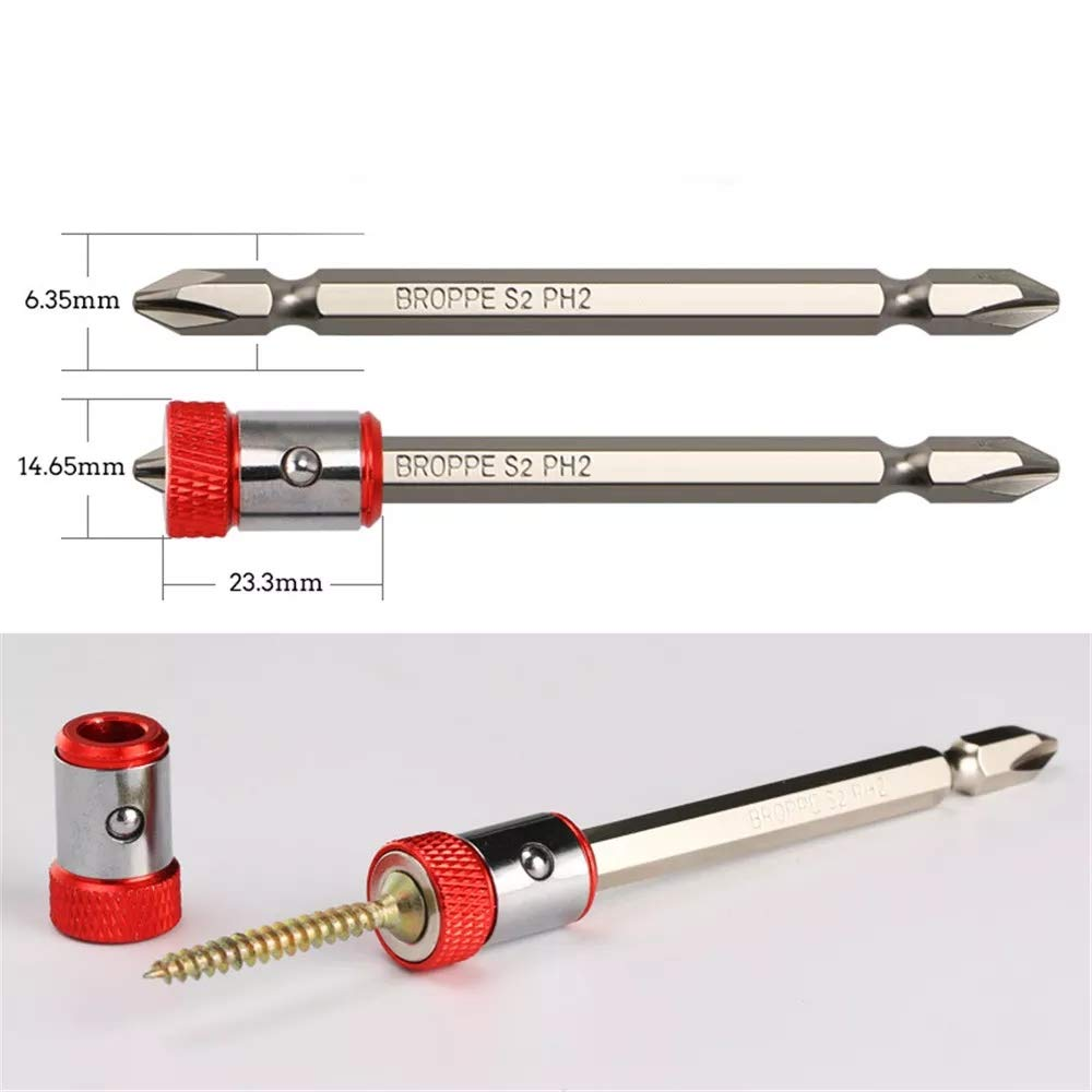 2Pcs Screwdriver Bit Magnetic Ring Screw Catcher Holder For 1//4 Inch Hex Shank Double End Screwdriver Bits
