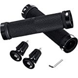 Bicycle Handle Grip Non-Slip Rubber Bike Handlebar Grips with Aluminum Handle Bar End Plug and 1 Hex Key Wrench for Scooter Cruiser Tricycle Wheel Chair Mountain Road Urban Foldable Bike MTB BMX
