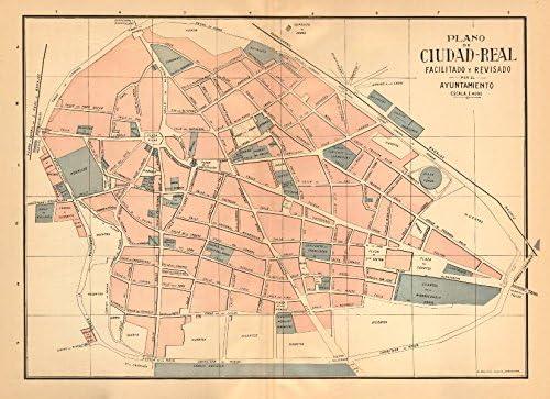 Ciudad Real. Plano Antiguo de la cuidad Antiguo Ciudad/ciudad Plan. Martin – C1911 – Old Antiguo Mapa Vintage – Mapas de Impreso de España: Amazon.es: Hogar