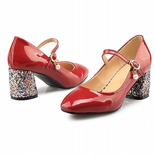 Classico Scarpe col MissSaSa Tacco Donna Ciccia Rosso TXFqF
