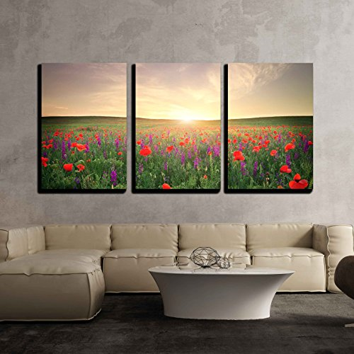 wall26 - 3 Piece Canvas Wall Art - Field with Grass, Violet Flowers and Red Poppies Against the Sunset Sky - Modern Home Decor Stretched and Framed Ready to Hang - Framed Canvas Poppies