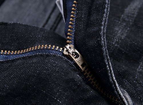 Mens-Ripped-Straight-Fit-Stretch-Biker-Jeans-with-Zipper-Deco-Denim-Jean