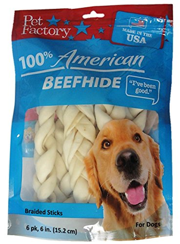 Pet Factory 78106 Beefhide 6' Braided Sicks. 6 Pack. Made in USA