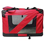 Soft Sided Cat Carrier Travel Crate w Locking Zippers Oxford Cloth Steel Pipe Pet Carrier Crate (Red)