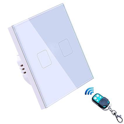Interruptor Tactil Inteligente de pared, LED Interruptor de luz de pared remoto inalámbrico Trabaja con
