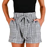 Clearance! Women Plaid Belted Shorts High Waist Self Tie Fashion Casual Summer Shorts with Pockets (S, Gray)